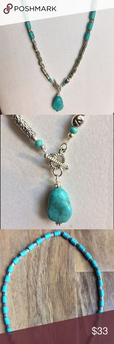 """Turquoise Handmade necklace, made by me This is unique Turquoise Handmade necklace is about 19""""long. It has front clasp and a pendant. Bead letter """"V"""" is something I put on most of my jewelry, it is my trademark and a proof it was made by Vicky 😊💕 Jewelry Necklaces"""