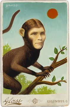 """""""Monkey Lady"""" by alex gross   Mixed Media on Antique Photograph, 7 x 5 Inches"""
