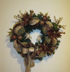 FREE SHIPPING Christmas Wreath Handmade by GiftsByWhatABeautifu, $95.00