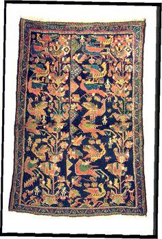 exceptionnal design for this kurdi antique rug.Indigo blue in the field. Very rare creative rug.