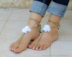 Bridal Foot jewelry Rhinestone Beach wedding White Crochet Barefoot Sandals Crystal Nude shoes, Beach wedding anklet, Footless sandales