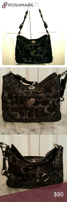 Authentic Coach Signature Purse Authentic classic coach signature purse in black. Zip pocket inside with two other open pockets. Leather and suede detail around purse. Slight wear on bottom, otherwise pristine condition. Coach Bags Shoulder Bags