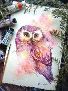 Etsy :: Your place to buy and sell all things handmade Watercolor Owl Tattoos, Owl Watercolor, Watercolor Sketchbook, Watercolor Paintings, Owl Art, Bird Art, Baby Owl Tattoos, Bird Tattoos, Owl Tattoo Small