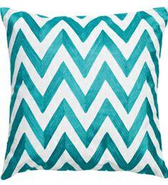 Teal Herringbone pillow
