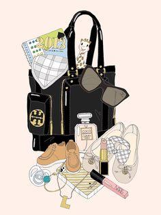 EmmaKisstina Illustrations by Kristina Hultkrantz Fashion Bags, Fashion Accessories, Lv Lv, Makeup Illustration, Moda Chic, What In My Bag, Fashion Forever, Fashion Sketches, Fashion Drawings