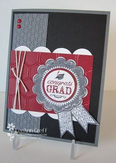 LeeAnn's grad card features Pure Gumption, Blue Ribbon, Honeycomb & Square Lattice embossing folders, Baker's Twine, & Tasteful Trim die. Graduation Cards Handmade, Greeting Cards Handmade, Scrapbook Paper Crafts, Scrapbook Cards, Scrapbooking, Paper Crafting, Congratulations Card Graduation, Make Your Own Card, Fathers Day Cards