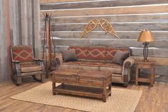 Pine Creek Collection - An elegant lodge themed collection. Add a touch of the Colorado wilderness to your home with this subtle and classy combination of majestic bears, character enhancing tweed and relaxed microfiber. Meticulously crafted in the U.S.A.!    Rustic living room, Cabin living room, Rustic décor, Rustic home decor, Rustic home, Mountain home, Leather couch, Southwest décor, Cabin décor, Cabin furniture, Cabin furniture living room, Log cabin homes, Log cabin decor