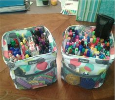 Organizing Office Supplies with a Thirty-One Littles Carry All Caddy