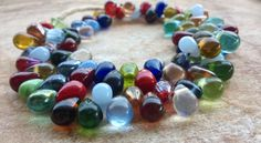 Full String of Small Rainbow Mali Wedding Beads. Mixed Small Tear Drop Glass Beads,(83 Beads) Glass Trade Beads,African Trade Beads, by RedEarthBeads on Etsy