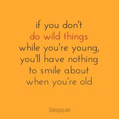 """In-your-face Poster """"If you don't do wild things while you're young, you'll have nothing to smile about when you're old"""" - Behappy.me"""