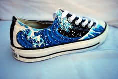 ee4c880e8f48 Hand Painted Converse Shoes - The Great Wave Off Kanagawa - Low Tops
