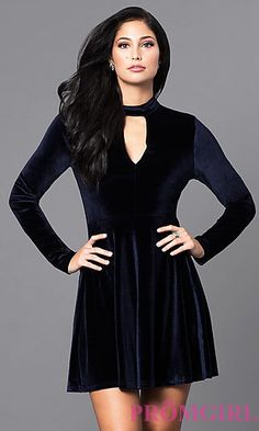 b1847025021 Long-Sleeve Short Velvet Party Dress at PromGirl.com Formal Dresses With  Sleeves