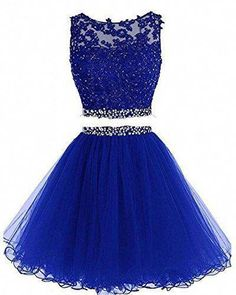 Charming Tulle Short Homecoming Dress, Royal Blue Two Piece Prom Dress, Appliques Prom Gowns - Nicely homecoming dress Homecoming Dresses Under 100, Two Piece Homecoming Dress, Cute Prom Dresses, Sweet 16 Dresses, Pretty Dresses, Sexy Dresses, Evening Dresses, Short Dresses, 15 Dresses