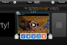 Splice - Video Editor (Free) Splice together HD photos and videos in an amazingly simple way. Add music tracks from your iPod library, sound effects, transitions, borders, effects (like Ken Burns, slow motion and fast forward), trim video and audio, narrate with your own voice, and much more. (Available on the iPhone 4/3GS and iPod Touch running iOS 4.2)