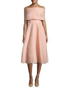 Off-Shoulder+Matelasse+Party+Dress,+Shell+by+Lela+Rose+at+Bergdorf+Goodman.