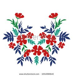 flower embroidery pattern - bu vektörü Shutterstock'ta satın alın ve başka görseller bulun. Embroidery Designs, Rooster, Flowers, Image, Royal Icing Flowers, Flower, Florals, Floral, Chicken