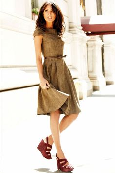 Next, Brown Capped Sleeve Dress