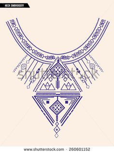 Neck Embroidery for fashion and other uses in vector