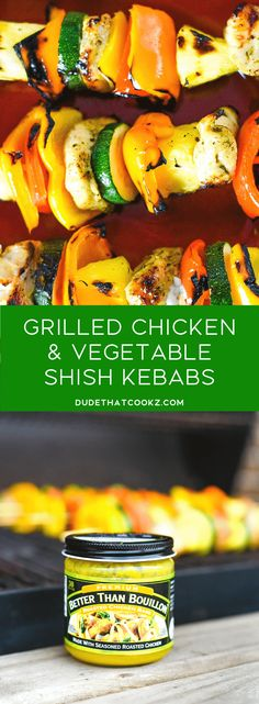 Deliciously grilled Chicken & Vegetable Shish Kebabs boasting flavors (kicked up a notch using Better Than Buillion roasted chicken base) paired with a sweet & tangy pineapple teriyaki sauce perfect for dipping. Teriyaki Chicken, Grilled Chicken, Teriyaki Sauce, Roasted Chicken, Grilled Vegetables, Chicken And Vegetables, Veggie Skewers, Chicken Skewers, Vegetable Kebabs