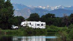 RV camping in Colorado lakeside in St. Vrain State Park - Firestone, CO