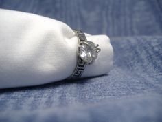 Sterling silver greek key design ring set with cubic zirconia