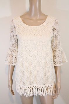 Modcloth Ya Crochet Lace Bell Sleeve Tunic Top S Ivory Floral Fringe Festival $7.0