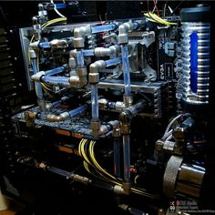Blue computer PC tower setup liquid cooled case. See more here - http://goo.gl/3fvO46