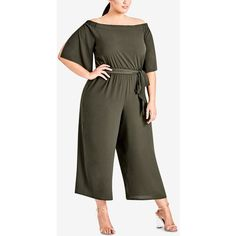 eeb86e8bedb City Chic Trendy Plus Size Off-The-Shoulder Jumpsuit ( 119) ❤ liked
