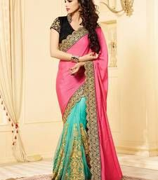 Buy pink and turquiose embroidered georgette saree with blouse bridal-saree online