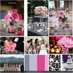 Changing Wedding Colors....halfway through the engagement.. :  wedding black change charcoal color damask gray grey pink silver white Iboard Fbafb176dda61952