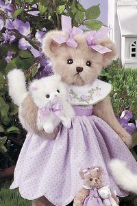Lavender Teddy Bear with Kitty