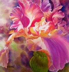"reiko hervin | Celestial Iris' 22"" x 21"" Transparent watercolor - Reiko Hervin"