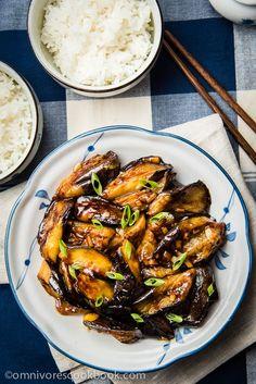Chinese Aubergine met knoflooksaus (veganistisch) - Cook krokante en lekker aubergine met de minimale olie en inspanning | omnivorescookbook.com