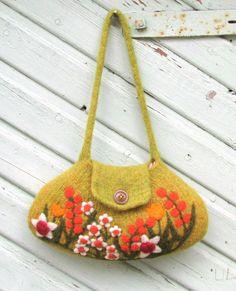 Fieltro bolsa bolso ocre amarillo lana verde bolso shoulderbag mano teje flores de fieltro de la aguja