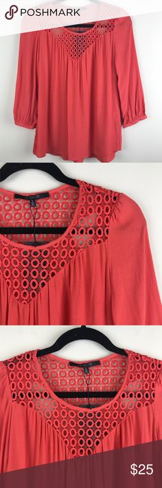 =I9 COOPER=CROCHET PEASANT BLOUSE S NWT no flaws. Tunic peasant shirt top blouse. Crochet detail on front and back. Melon color. Gorgeous for spring. Dress up or down. Cuff sleeves and open bottom. Small. R Boho,hippie,gypsy,anthro,resort,career I9 Cooper Tops Blouses