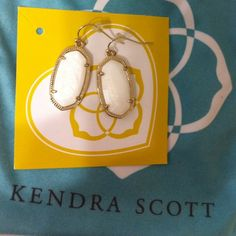 Gorgeous White Mother of Pearl Dani Earrings New hardly worn Kendra Scott Beautiful White Mother of Pearl Dani Earrings. 14kt gold over Brass no trades no Merc. Kendra Scott Jewelry Earrings