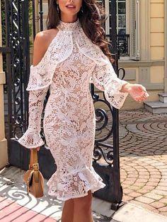 Cold Shoulder Flounce Hem Lace Sheath Dress New Arrival Bikinis, Jumpsuits, Dresses, Tops, High Heels on Sale. Classy Dress, Classy Outfits, Lace Sheath Dress, Bodycon Dress, Sheath Dresses, African Fashion Dresses, Fashion Outfits, Womens Fashion, Lace Dress Styles