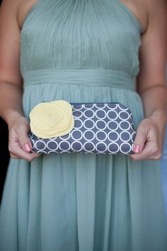 Personalized Bridesmaid Clutches and Flower Brooch, Wedding Bag, Custom Color Choices, Set of 4, Gray and Yellow. $192.00, via Etsy.