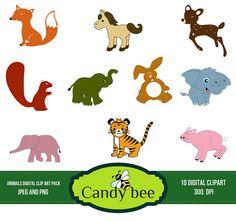 Cute Animal Clipart Digital clip art of baby animals, Fox Horse, Deer, Elephant, Tiger - SAN-501