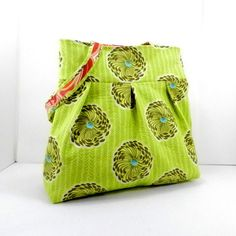 Shoulder Bag Lime Green Amy Butler Large by SewMuchFabric2010