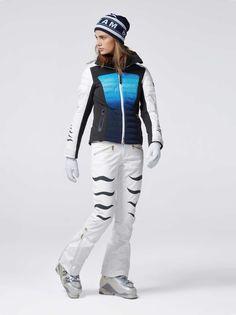 Bogner Damen Damia Team Jacke - Navy Multicolor Ski Wear, Skiing, Rain Jacket, Windbreaker, Women's Fashion, Navy, How To Wear, Jackets, Ski