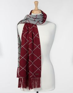 NAPOLI Winter Fall Wrap Scarf Graphic Diamonds Design PURE ALPACA Knitted 100% Baby Alpaca Geometric Pattern with Fringes for Women (Imperial Red/Silver) -- Awesome products selected by Anna Churchill