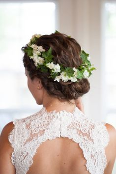 floral hair wreath - Backyard Alabama Wedding from Susan Hudson Photography