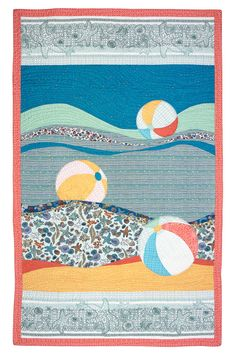 This is a free-form and fun to make quilt pattern. Instructions are given for making and sewing gentle curves to create the background waves. The beach