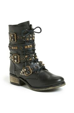 Steve Madden 'Lilianne' Boot available at black studded combat boots Cute Combat Boots, Studded Combat Boots, Walk This Way, Low Heels, Winter Outfits, Winter Clothes, Me Too Shoes, Steve Madden, New Baby Products