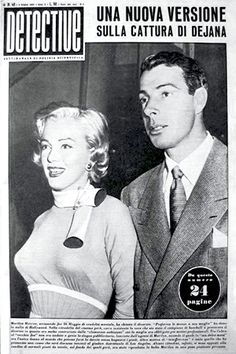 "1955 April issue: Detective Italian magazine cover – Marilyn Monroe & Joe DiMaggio on the film set of ""Monkey Business""  .... #marilynmonroe #normajeane #vintagemagazine #pinup #icon #iconic #1950s #raremagazine #magazinecover #JoeDiMaggio #MonkeyBusiness"