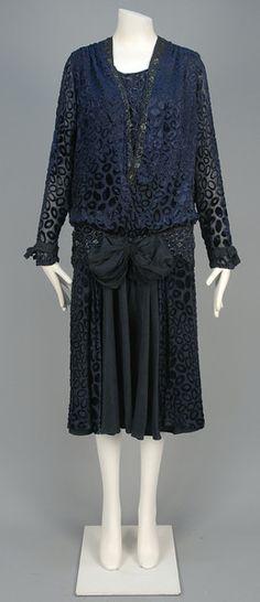 Voided velvet dress (image 1) | culture unknown | 1920s | velvet, beads, moire silk | Whitaker Auctions | Lot 510