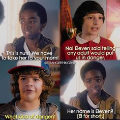 """Her name is Eleven?"" - Lucas, Dustin and Mike #StrangerThings (by StrangerThingsHD)"