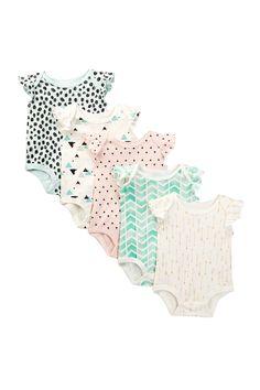 Rosie Pope - Printed Flutter Sleeve Bodysuit Set of 5 (Baby Girls) at Nordstrom… 5 Babies, Little Babies, Cute Babies, Newborn Babies, Babies Stuff, Kid Stuff, Baby Girl Fashion, Kids Fashion, Baby Kids Clothes
