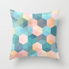 Child's Play 2 - hexagon pattern in soft blue, pink, peach & aqua Throw Pillow